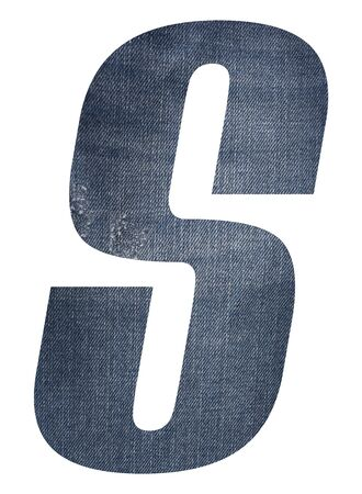 Letter S with jeans fabric texture on white background.