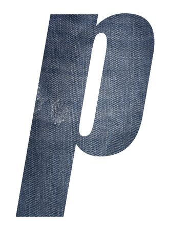 Letter p with jeans fabric texture on white background. 写真素材