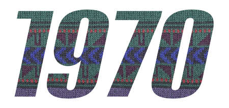 Year 1970 with knitted sweater number on white background