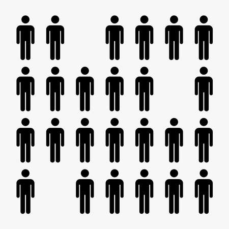 group of people illustration vector, missing person, man icon.