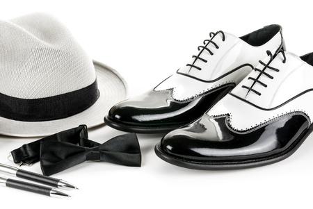 black and white leather mafia shoes photo