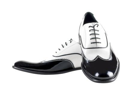 black and white leather mafia shoes