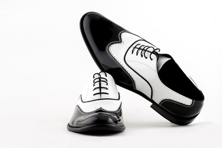 black and white gangster shoes on a white background photo