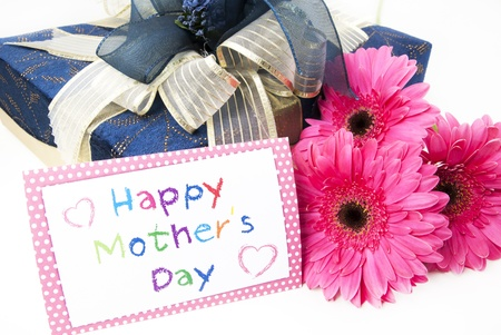 Mothers day card with flowers and gift box photo