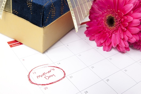 Flowers, gift box and calendar showing mothers day Stock Photo - 13255539