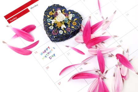 Daisy petals and heart shaped box on calendar Stock Photo - 13255533