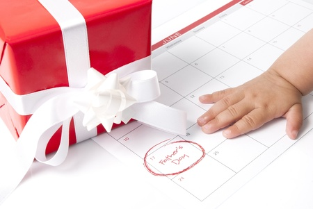gift box with calendar showing Fathers day photo