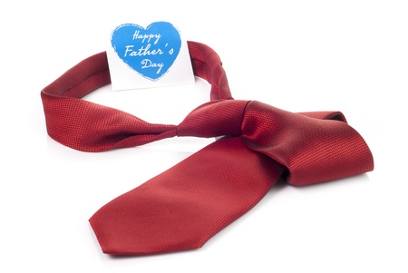 Red tie and heart shaped card for fathers day