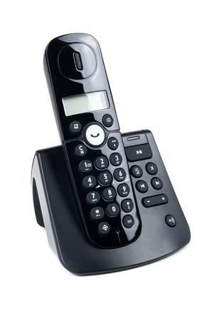 black wireless digital telephone on white background