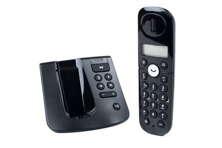 black wireless digital telephone on white background