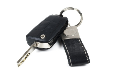 Black car Key and Keychain on white background Stock fotó