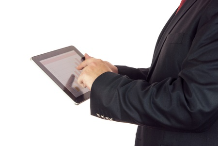 Businessman holding a tablet computer in his hands photo