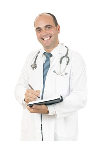 adult  body writing: doctor taking notes about his patients on white background Stock Photo