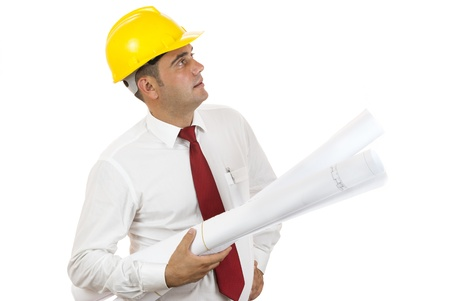 engineer holding blue prints of his construction on white background