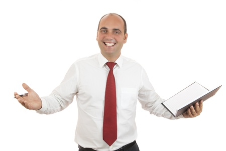 employee holding black notebook and pen on white background photo