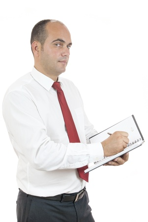 employee holding black notebook and pen on white background Stock fotó