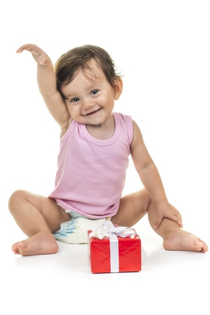 pretty baby with red gift box on white background Stock Photo - 15175693
