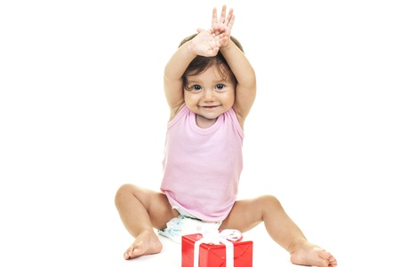 pretty baby with red gift box on white background Stock Photo - 15175688