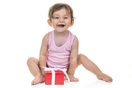pretty baby with red gift box on white background Stock Photo - 15175691