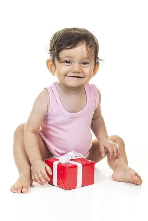 pretty baby with red gift box on white background Stock Photo - 15175692