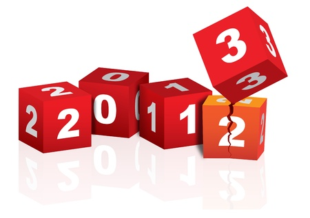 Red and white cubes celebrating coming of 2013