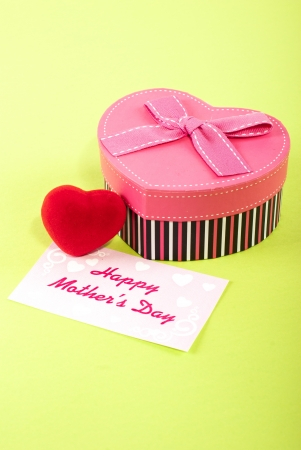 Red Heart heart shaped gift box with a mothers day card photo
