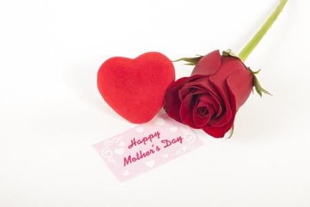 rose bud: Bocciolo di rosa rossa e cuore rosso con la scheda di giorno Archivio Fotografico