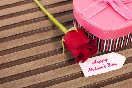 rose bud: Bocciolo di rosa rossa a forma di cuore rosa regalo e la scheda di giorno