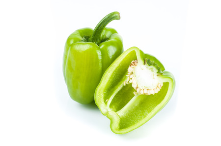 fresh green bell pepper on white background Stock fotó