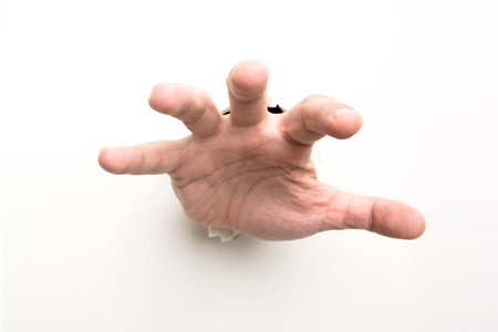 avidity: Greedy mans hand isolated on white background Stock Photo