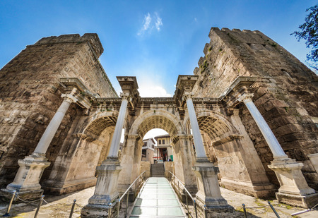 hadrian: View of Hadrians Gate in old city of Antalya, Turkey