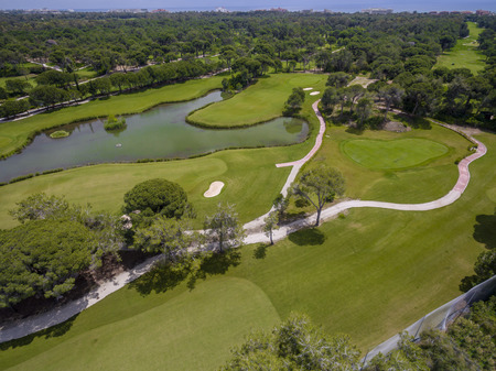 Aerial photograph of golf cource in antalya belek 免版税图像