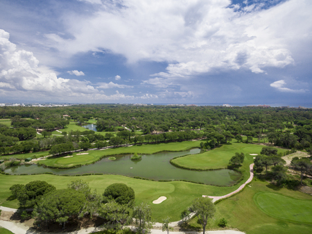 Aerial photograph of golf cource in antalya belek Stock Photo