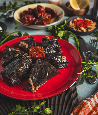 top view plate with stuffed sundried eggplant  and pepper on wooden background