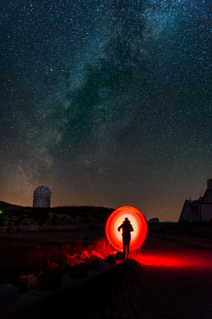 Lightart under Milky way at night in the mountains