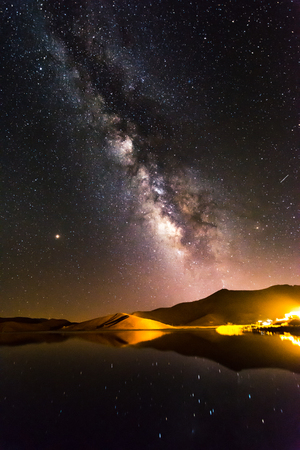 reflection of milky way on the lake at night