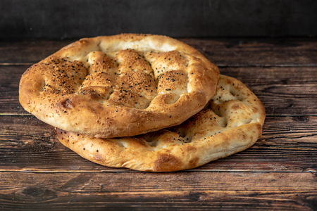 Ramadan Pita (Ramazan Pidesi) Traditional Turkish bread for holy month Ramadan