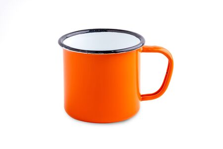 Enamel metal camp mug for coffee or tea on white background