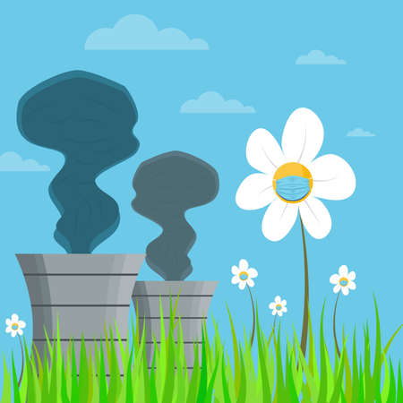 Thermal power station chimney with black smoke and Rural hilly landscape with daisies with protective medical mask in the foreground. Vector nature background.