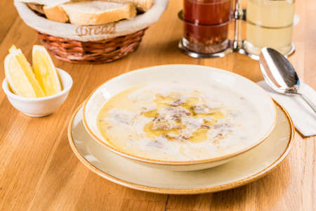 Traditional Turkish Soup Kelle Paca, Sheep's Head and Foot Soup Foto de archivo