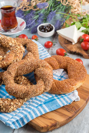 different types of Turkish bagels served with foods for breakfast and Turkish tea Stock fotó