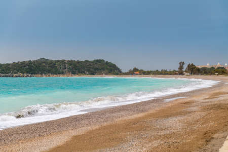turquoise sea and the beach with Demre Antalya Turkey 免版税图像