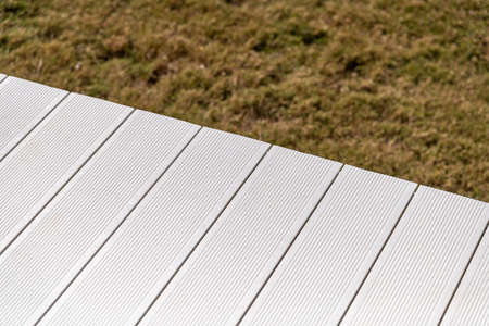 White wpc material composite deck for the construction of terraces 免版税图像