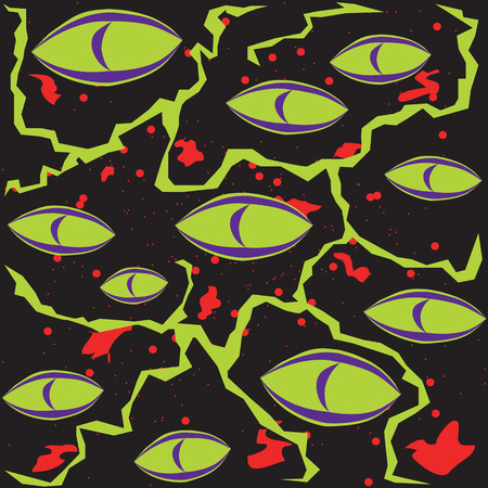 Abstract green scary monster eyes on a black background with blood and lightning Illustration