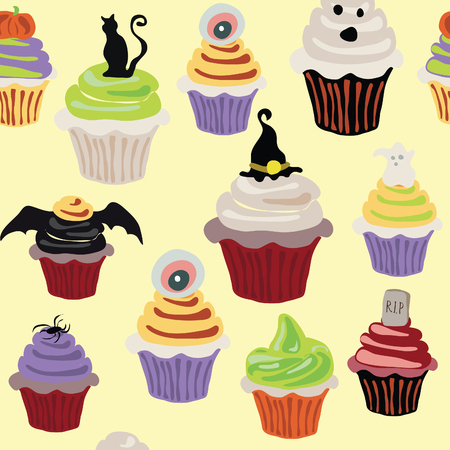 Halloween Cupcake vector illustration bright colorful pattern scary