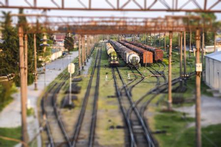 tilt shift landscape industrial railroad tracks train   summer 写真素材