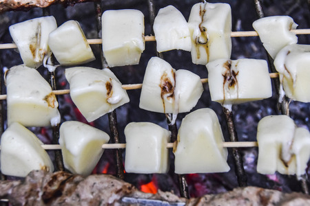 BBQ on the nature in summer cheese Suluguni grilled on skewers