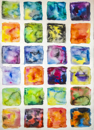 squares bright abstract stains paint stains watercolor yellow red shading ink