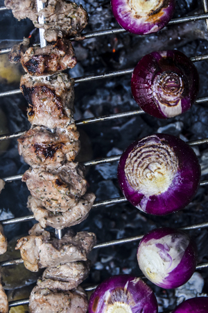 barbecue outdoors summer meat kebab grill red onion