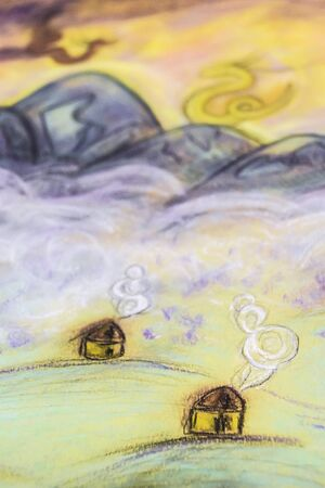 Fairy Tale Pastel drawingl village fog and mountains dragons in the clouds